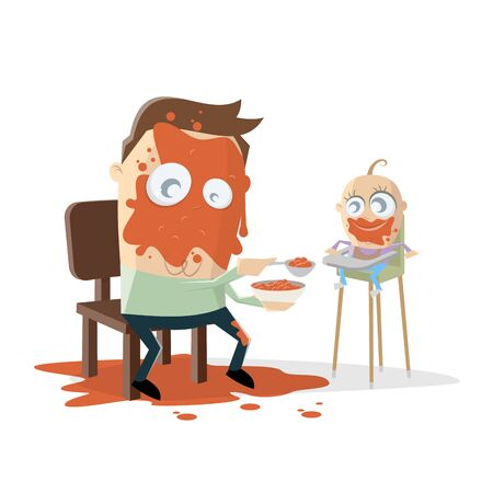 Funny cartoon illustration of a dad feeding the baby Illustration