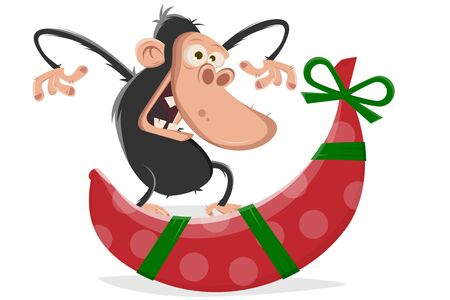 Vector illustration of a cartoon funny ape getting a banana for christmas