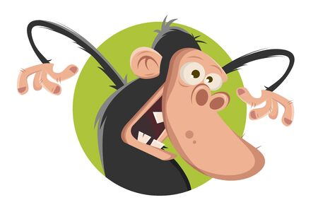 Vector illustration of a cartoon funny ape in a badge