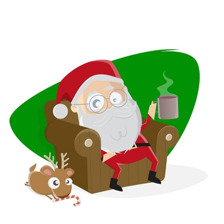 Santa claus is taking a break in his sofa with small reindeer sitting at his feet