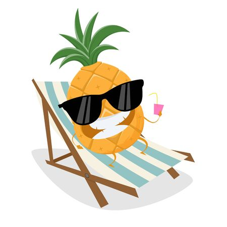 Funny cartoon pineapple relaxing on sunbed Illustration