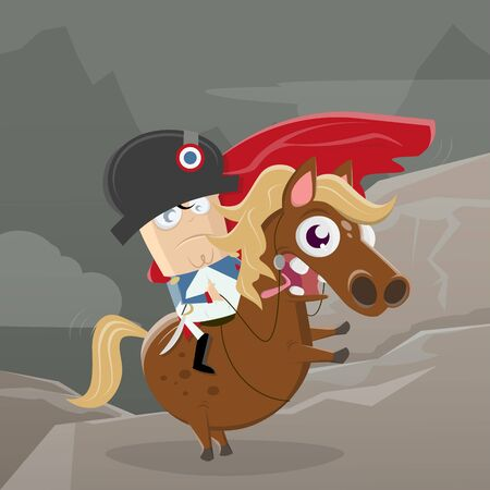 Cartoon illustration of Napoleon bonaparte riding on a horse  イラスト・ベクター素材