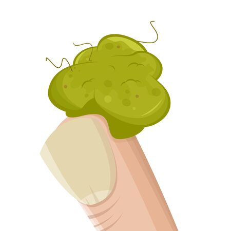 Funny cartoon illustration of a booger on a finger 向量圖像