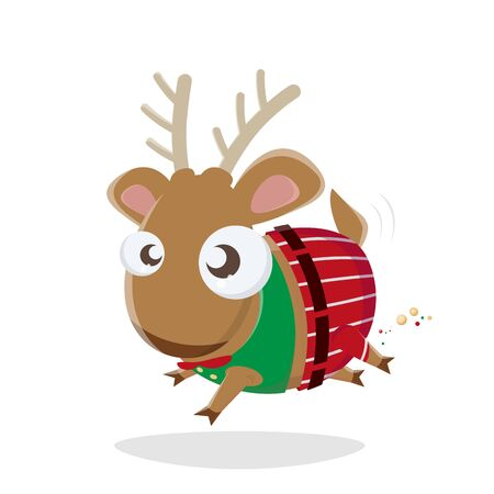 Funny cartoon illustration of a little reindeer in christmas outfit Illustration