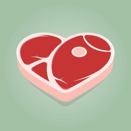 Funny cartoon illustration of a steak in heart shape Vektorové ilustrace