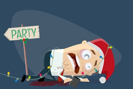 Cartoon illustration of a drunk man leaving the christmas party
