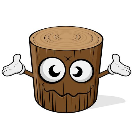 Funny cartoon illustration of a wood log with face and hands