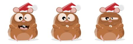Funny cartoon collection of a hamster with christmas hat