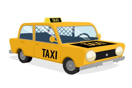 Funny cartoon illustration of a taxi