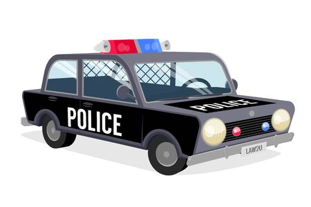 Funny cartoon illustration of a police car