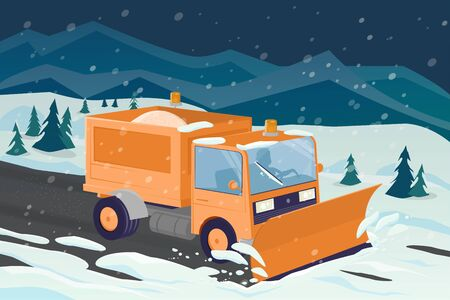 Cartoon illustration of a snow plow clearing the street 일러스트