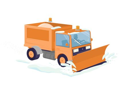 Funny cartoon illustration of an isolated snow plow Illustration