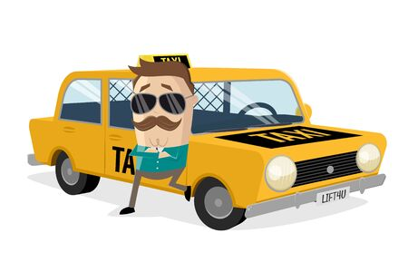 Funny cartoon illustration of a taxi driver leaning on his car