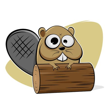 Funny cartoon illustration of a beaver with wood log
