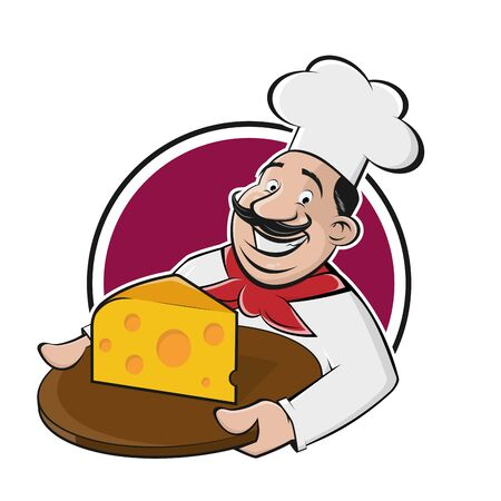 Funny cartoon chef serving delicious cheese