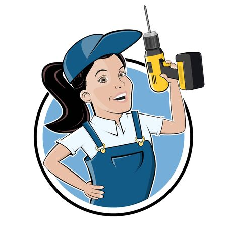 Funny cartoon   of a craftswoman with a drill