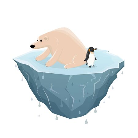 Cartoon illustration of a sad ice bear and penguin on a melting ice floe