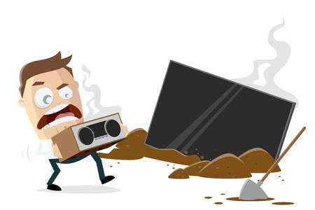 Funny cartoon illustration of a man disposing his electronical devices Illustration