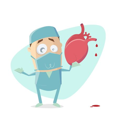 Funny cartoon illustration of a surgeon holding a human heart Illustration
