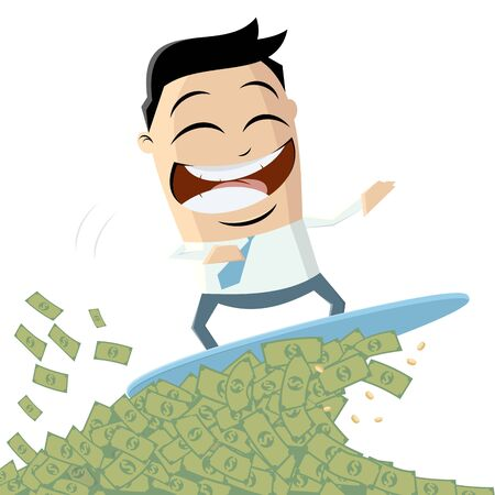 Funny cartoon businessman surfing on money wave