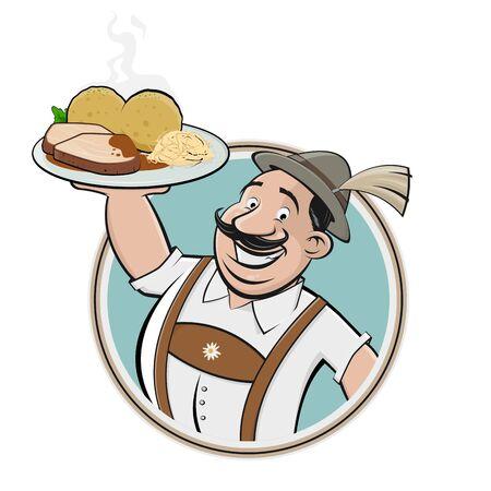 Cartoon   of a bavarian man with German dish pork roast Illustration