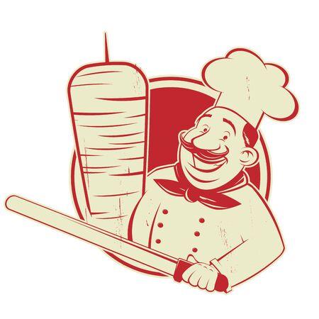 Funny cartoon doner   illustration in vintage style Çizim