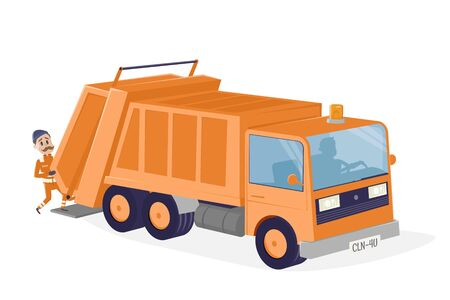 Funny cartoon illustration of a garbage disposal car  イラスト・ベクター素材