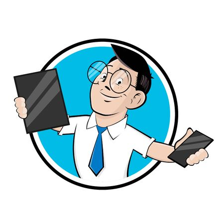 Funny cartoon   illustration of a computer specialist with tablet and smartphone Illustration