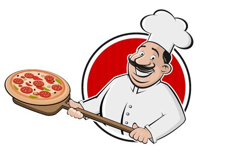 Cartoon pizza   of a serving chef