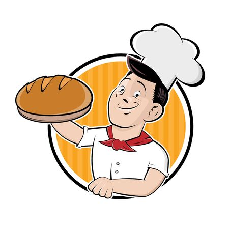 Funny cartoon sign of a baker holding a delicious bread Illustration