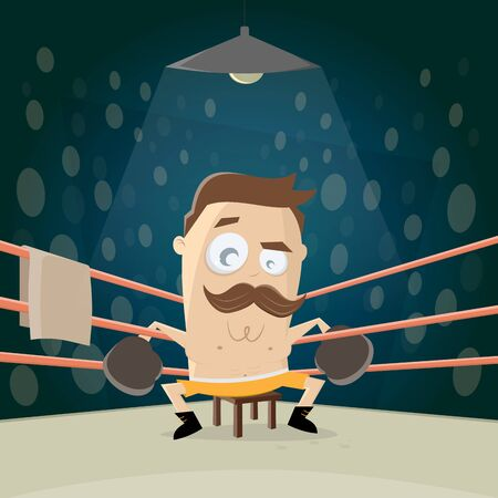 Funny cartoon illustration of a boxer sitting in the corner Illustration