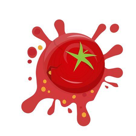 Funny cartoon illustration of a splashing tomato