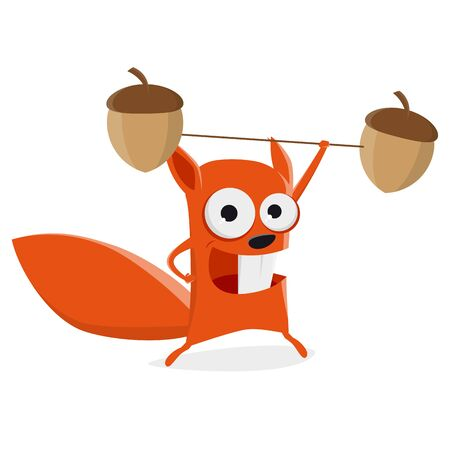 Funny cartoon illustration of a squirrel having fun lifting weights Illustration