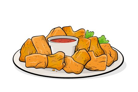 Cartoon illustration of chicken nuggets with dip