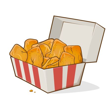 Cartoon illustration of chicken nuggets in a box Illustration