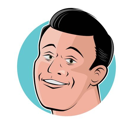 Retro cartoon illustration of a handsome man in a badge