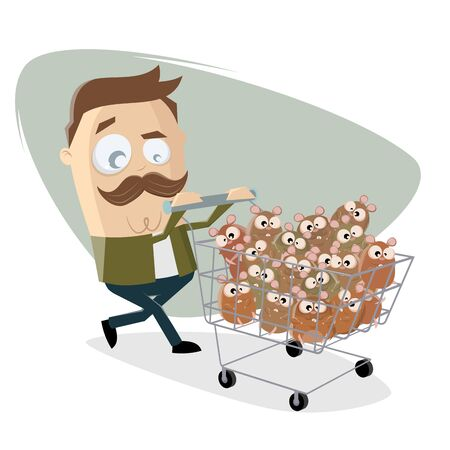 Funny cartoon illustration of a man panic buying hamsters Illustration
