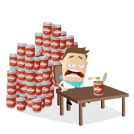 Funny cartoon man has to eat all the canned beans he bought in panic Illustration