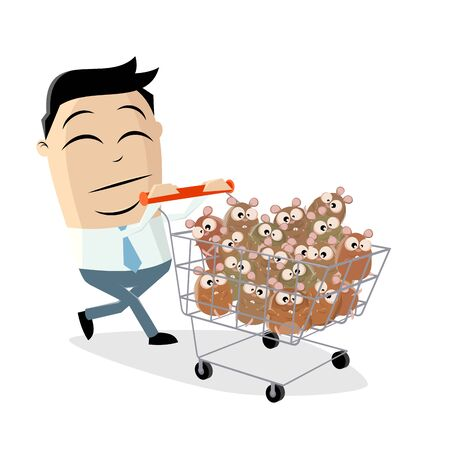 Funny cartoon illustration of an asian man panic buying hamsters