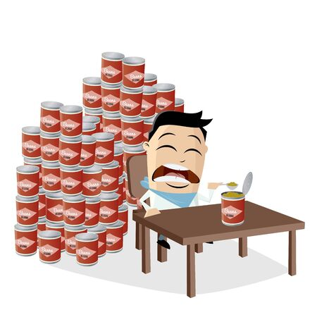 Funny asian cartoon man has to eat all the canned beans he bought in panic 向量圖像