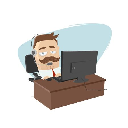Funny cartoon illustration of a businessman working at his home office