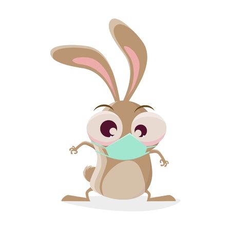 Funny cartoon rabbit with breathing mask Illustration