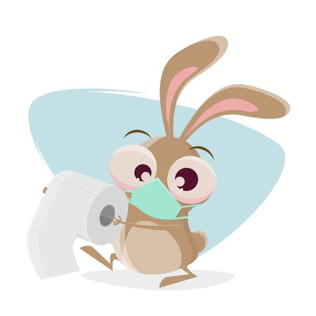 Funny cartoon rabbit with breathing mask is bringing toilet paper as present Illustration