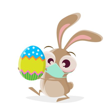 Funny cartoon rabbit with breathing mask is bringing an easter egg Standard-Bild - 143438452