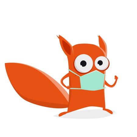 Funny cartoon squirrel with breathing mask Illustration