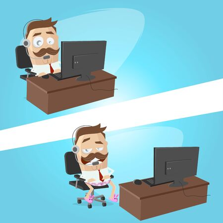 Funny cartoon illustration of a businessman working at his home office with underpants and slippers Illustration