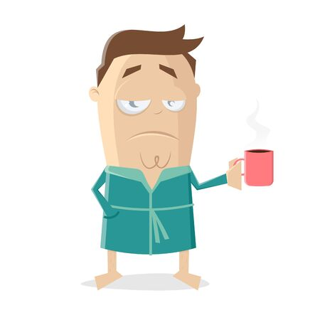 Funny cartoon illustration of a man in bathrobe holding a cup of coffee