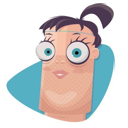 Funny cartoon illustration of a woman looking like a digital assistant Standard-Bild - 143971271