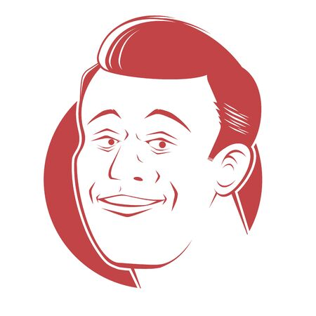 Retro cartoon illustration of a smiling handsome man