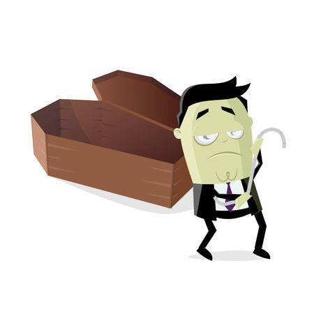 Funny cartoon illustration of an undertaker taking measurements